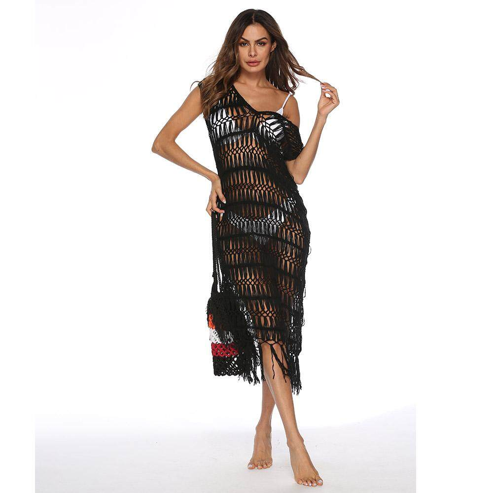 0d91341df1785 Summer Bikini Cover Ups Sexy V Neck Net Mesh Hollow Beach Dress For Women