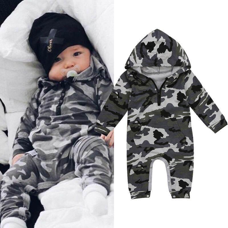 009abb437 Bebé niño camuflaje con capucha mameluco bebé recién nacido de camuflaje de manga  larga mameluco 2019