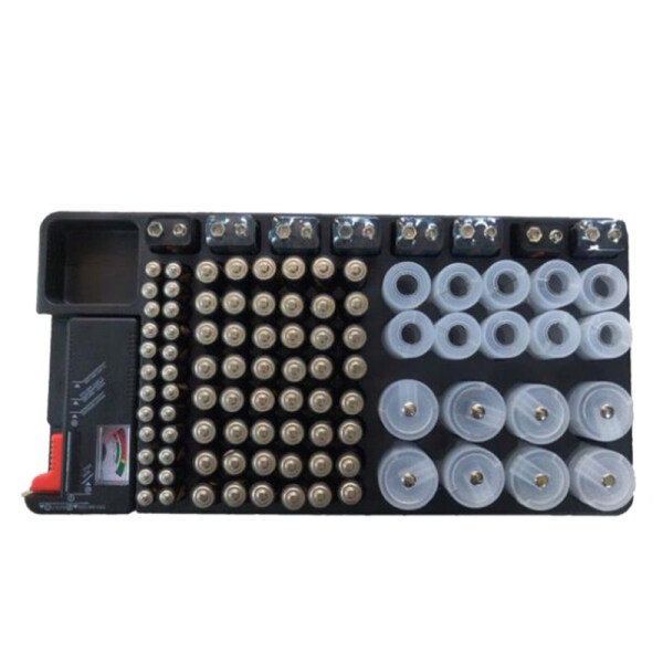 Powerlion Battery Organizer Storage Case with Tester Can Hold 110 Battery Various Sizes for AAA, AA, 9V, C and D Size and Battery Tester