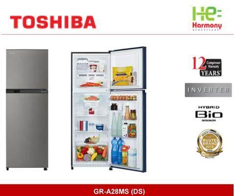 New : Toshiba 280L Ag+ Bio Deodorizer Inverter Fridge Refrigerator GR-A28MS (DS) (Peti Sejuk)