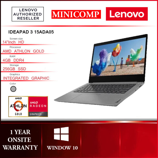 NEW LENOVO IDEAPAD 3  IP3 AMD ATHLON GOLD 3150U/4GB DDR4/256GB SSD/AMD REDEON/AC+BT5.0/14HD/1Y PLATINIUM GRAY / ABYSS BLUE  COLOR NOTEBOOK  1.5KG[FREE] CARRY BAG + WIRELESS MOUSE Malaysia