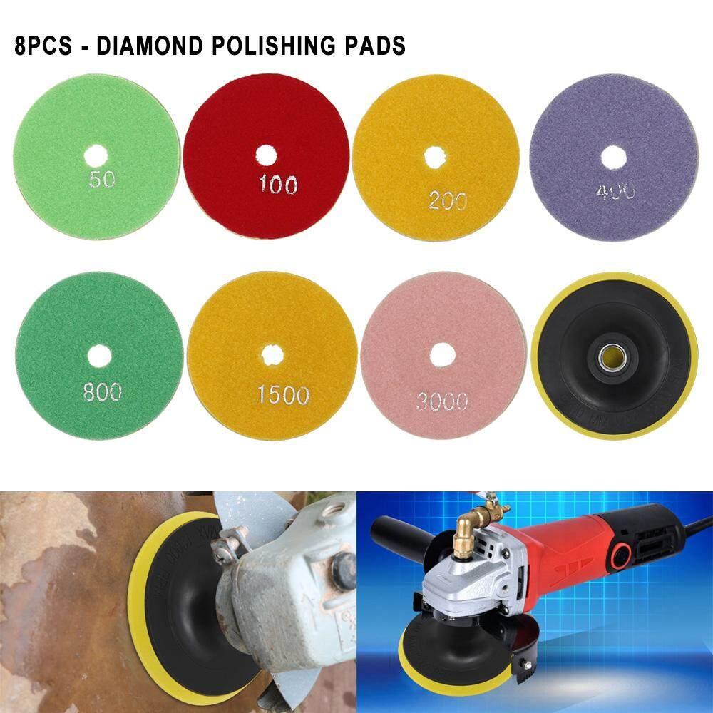 Marble 100mm 8x 4 Disc Grinder Diamond Polishing Pads Kit For Granite Concrete