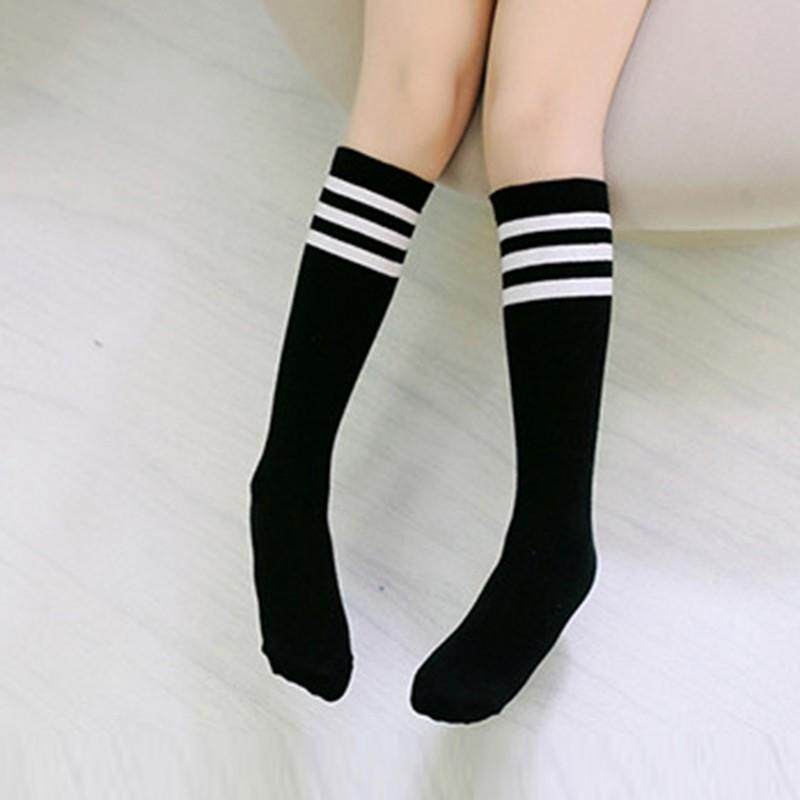 Kids Knee High Socks Girls Boys Strips Cotton Old School White Socks Children Sock Boots Baby Long Leg Warmer By Babyqt.