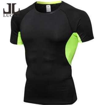 Luoke Professional Men การบีบอัดเสื้อแขนสั้นออกกำลังกาย PURE สี PRO กีฬาแห้งเร็วเสื้อออกกำลังกายเพาะกายตาไก่เสื้อยืดผ้าแขนยาว (สีดำ + สีเขียว)-