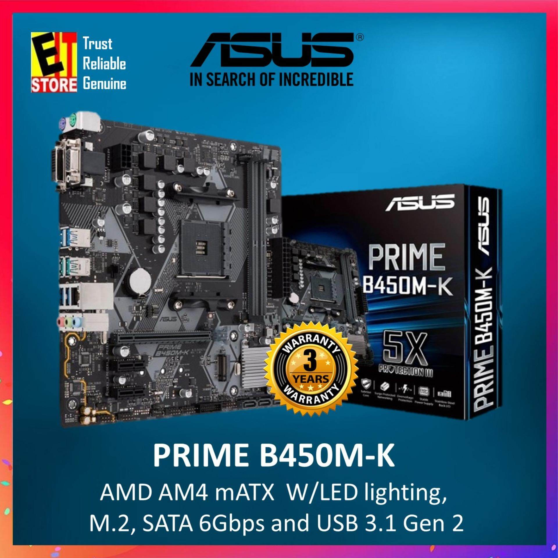 ASUS PRIME B450M-K AMD AM4 mATX motherboard withwith LED lighting, DDR4  3200MHz, M 2, SATA 6Gbps and USB 3 1 Gen 2