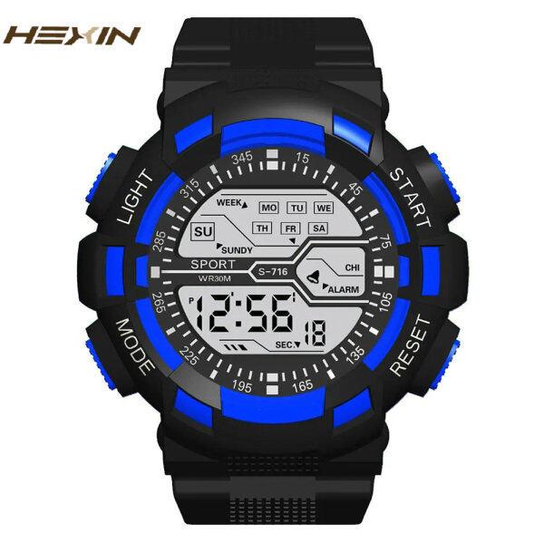 HEXIN Jam Tangan Lelaki Digital Sports Watch for Men 50mm PU Strap with Calendar Chronograph Luminous Function Malaysia