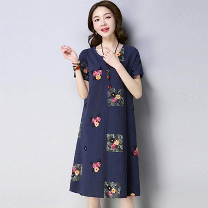 17af1baea8 China. Women A-line Dresses Summer Plus-size Dresses Short Sleeves Slim Fit  Fashion Print
