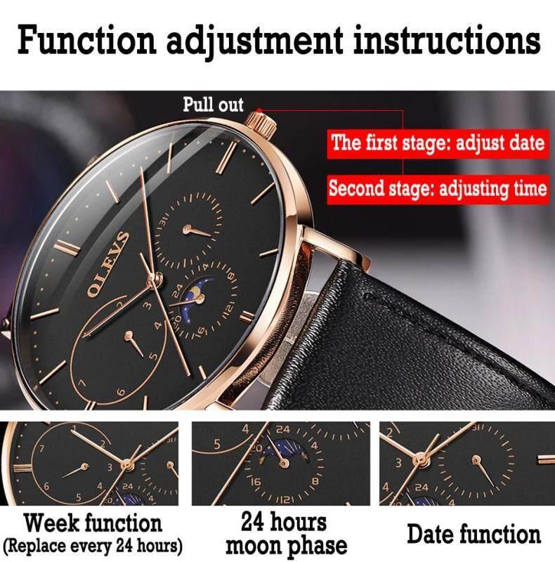 Nơi bán OLEVS Đồng hồ nam Đồng hồ thạch anh đa năng thể thao chống nước Thời trang đơn giản Thời gian đi lại chính xác Hai dây đai, da / thép không gỉ