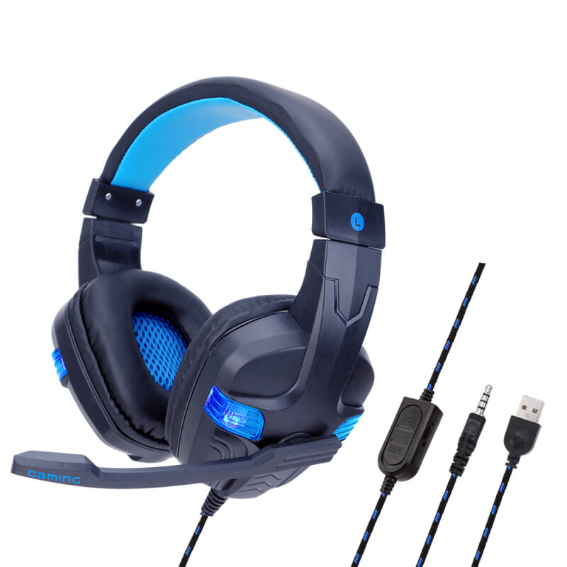niceEshop SY860MV 3.5mm Gaming  Headset with Microphone Led Light Emitting Head-mounted Gaming Headset Singapore