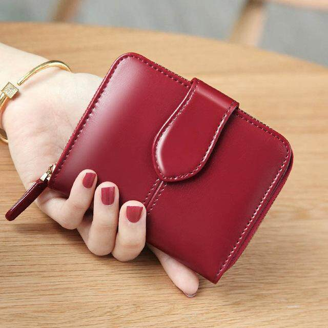 Women Genuine Leather Wallet Short Female Wallet Zipper Hasp Coin Purse Small Women Card Money Wallet Zip Stitch Vintage Multi Pockets Coin Purse Card Holder Small Wallet for Ladies