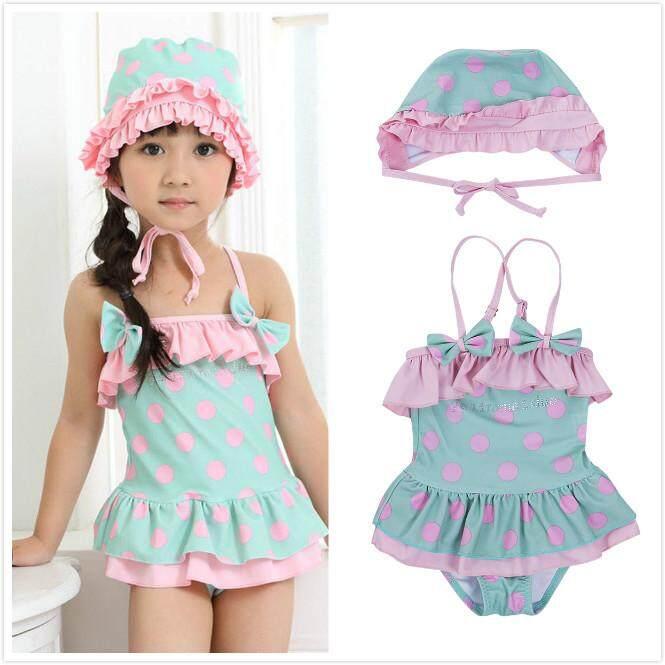 0f462558e16 2Pcs Toddler Kids Baby Girls Romper+Swimming Cap Jumpsuit Swimwear Bathing  Dress