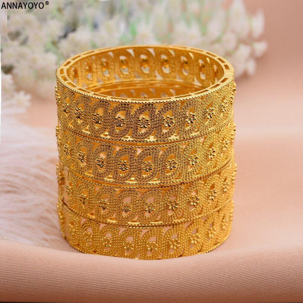 Timur Tengah Arab Dubai Gelang Gelang untuk Wanita Afrika Perhiasan Warna Emas Trendi Hadiah (4 Buah/Lot)