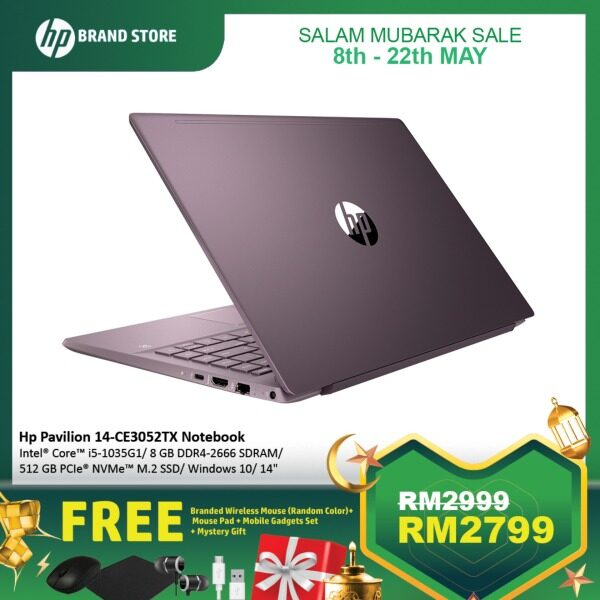 [ONLINE EXCLUSIVE] HP Pavilion 14-ce3050tx/ 14-ce3051tx/ 14-ce3052tx/ 14-ce3062tx Notebook /i5-1035G1/8GB/512GB/14-Inch FHD/MX250-2GB/WIN 10+Free Wireless Mouse (Random Color)+ Mouse Pad + Mobile Gadgets Set + Mystery Gift Malaysia