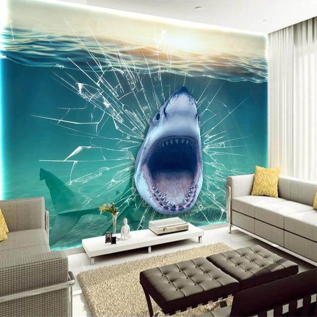 Wall mural photo art Wall mural Abstract Shark Broken The Window interioir photo wallpapers Stickers Vinyl Wall Mural For Living Room Bedroom