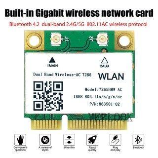 MC-AC7265 Không Dây 1200Mbps Card Wifi Intel 7260 7260HMW Nửa Mini PCI-E Bluetooth 4.2 802.11ac 2X2 WiFi + BT4.2 Băng Tần Kép 2.4G 5GHz Bộ Chuyển Đổi Mạng thumbnail
