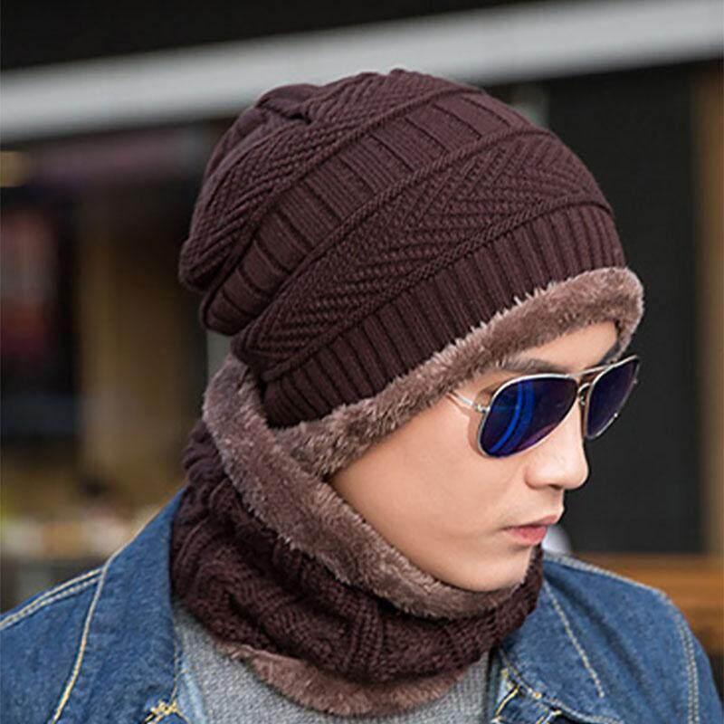 ad1184bdd0e Knitted Hat Scarf Caps Neck Warmer Winter Hats For Men Women Skullies  Beanies Warm Fleece Cap