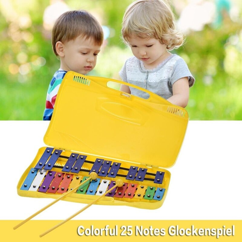 Colorful 25 Notes Glockenspiel Xylophone Percussion Rhythm Musical Educational Teaching Instrument Toy with 2 Mallets Handheld Case for Baby Kids Children