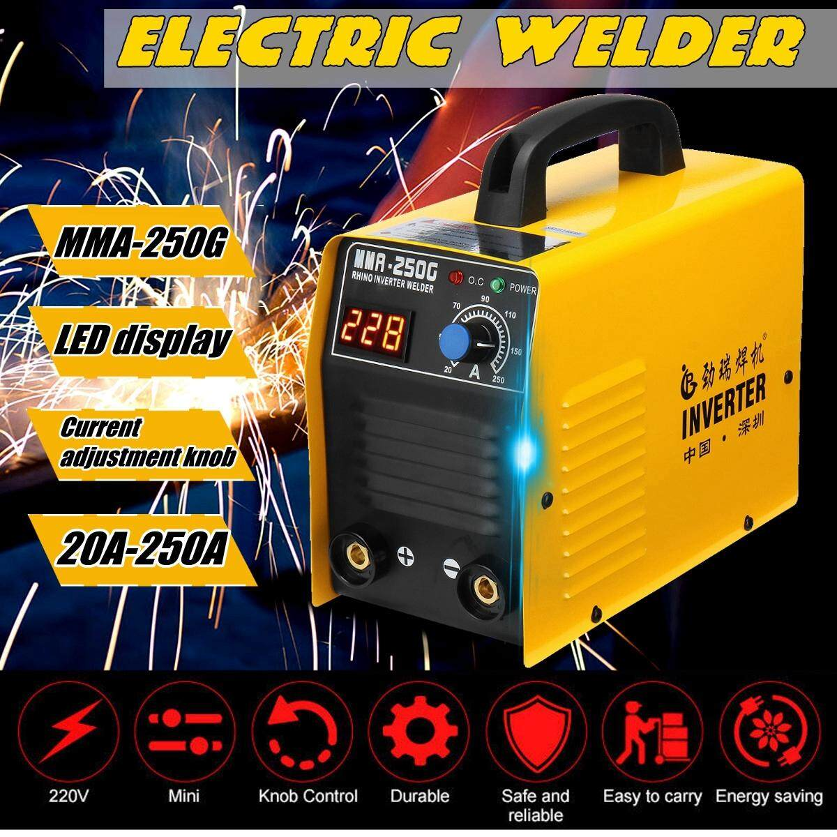 【Free Shipping + Flash Deal】20-250A MMA 25KVA 220V Digital Display Electric IGBT Welder Inverter ARC Stick High Precision Welding Machine Welders Tool
