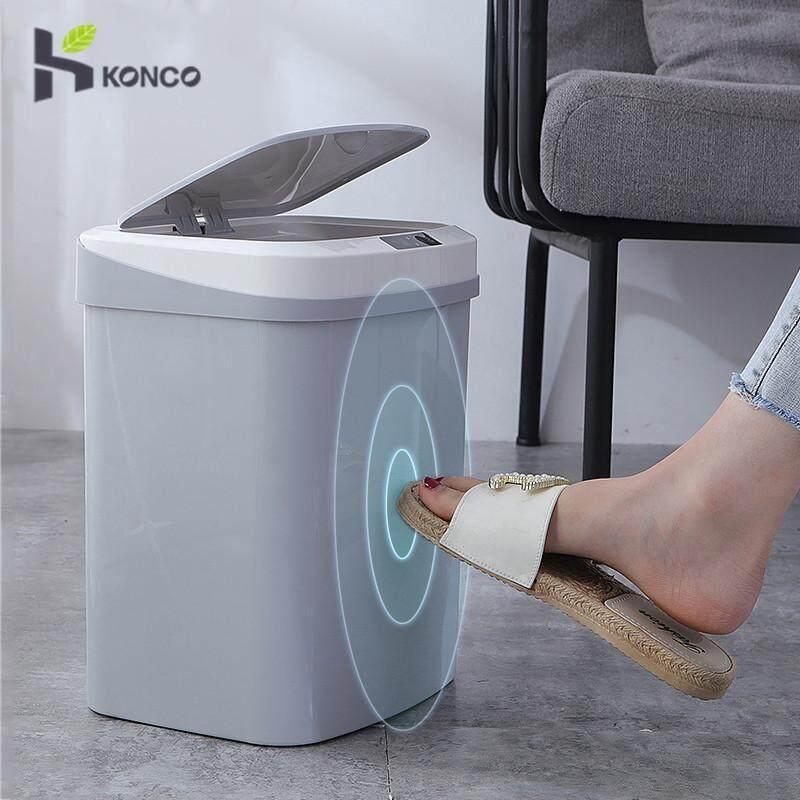 Thùng rác thông minh Konco 15L tự động cảm ứng điện, thùng rác nhựa đạp chân tiện lợi, thiết kế đơn giản, tinh tế - INTL