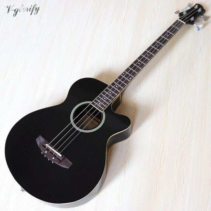 4 string electric acoustic bass guitar high gloss 43 inch natural color black color full size bass guitar with EQ Malaysia