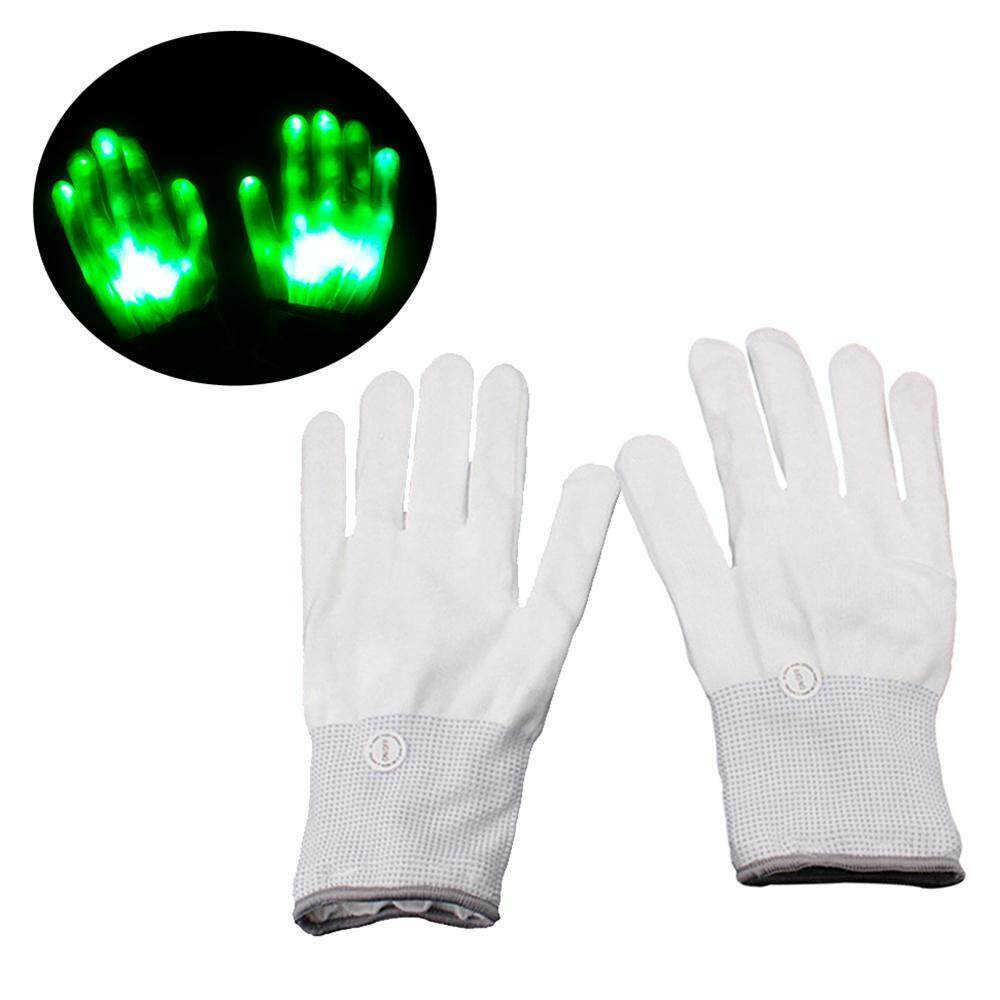 Niceeshop 1 Pair Led Light Glowing Gloves Colorful Luminous Flashing Skeleton Gloves Halloween Stage Costume Holiday Events Party Supplies By Nicee Shop