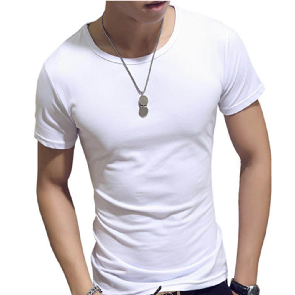 3799a19b SZWL Fashion Men Simple Solid Color Slim Short Sleeve T-shirt