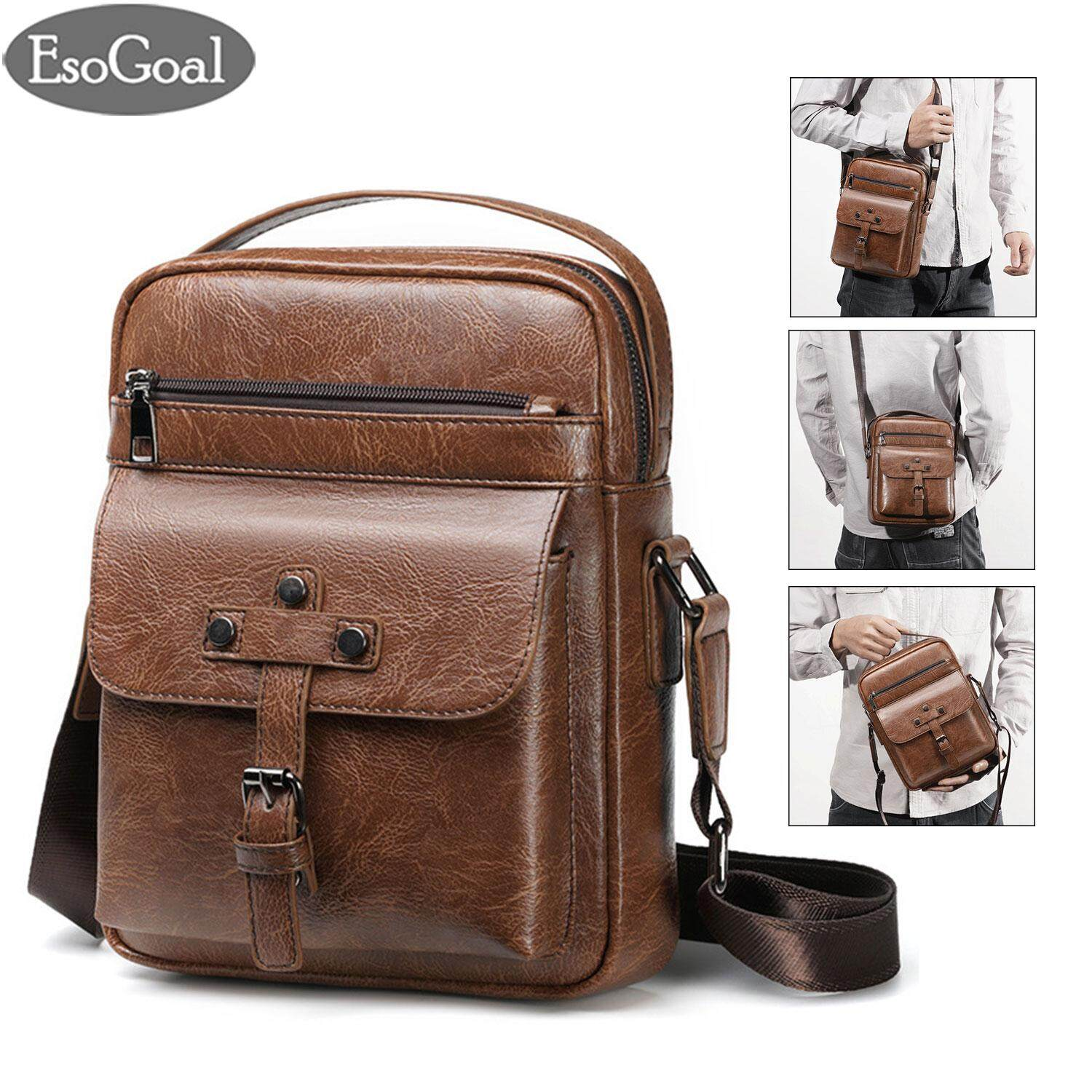 EsoGoal Messenger Bags Men Sling Bag Crossbody Bag Shoulder PU Leather Pouch Bags Business Handbag Bags