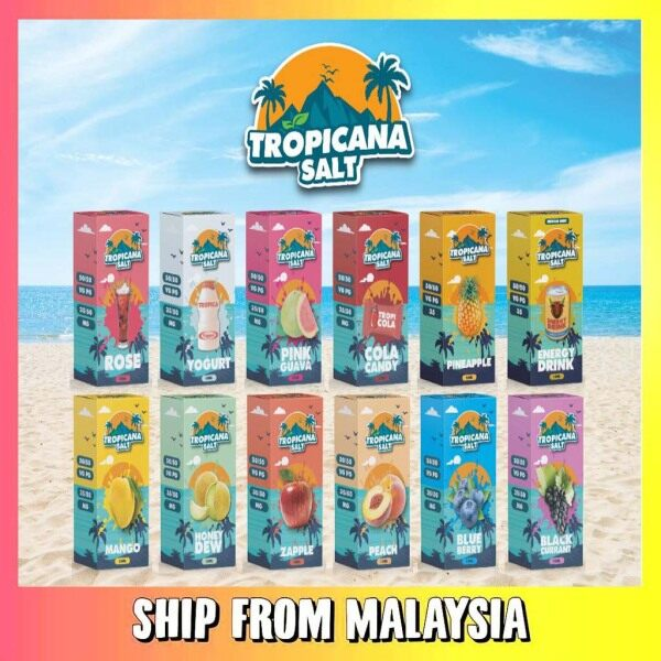 Tropicana Salt 15ML Edition Zapple // Peach // Pink Guava // Blueberry // Blackcurrant // Mango // Honeydew // Cola Candy // Rose // Yogurt Malaysia