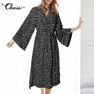miễn phí vận chuyển Celmia Áo Choàng Kimono Nữ Cổ Chữ V Quấn Cổ Chữ V Quyến Rũ Chấm Bi Cho Nữ, Kỳ Nghỉ Ăn Mặc Gown thumbnail