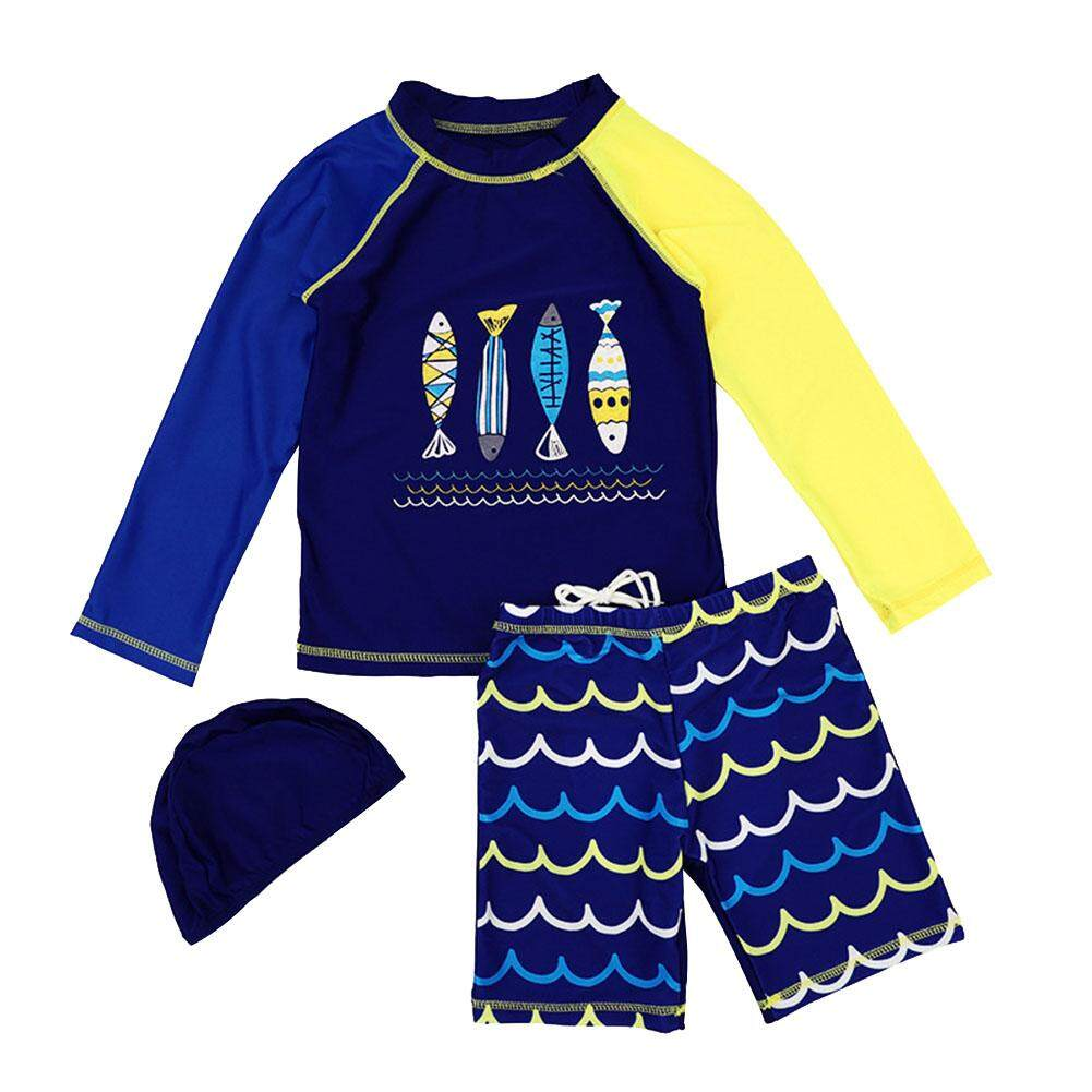 Childrens Swimsuit Boys Sunscreen Long Sleeve Swimsuit Baby Quick Dry Surfing Suit Set By Rui Green.