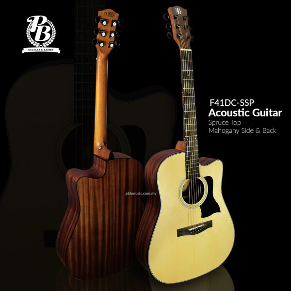 PB 41 Dreadnaught Size F41DC-SSP Spruce Top Mahogany Sapele Side & Back Acoustic Guitar Malaysia