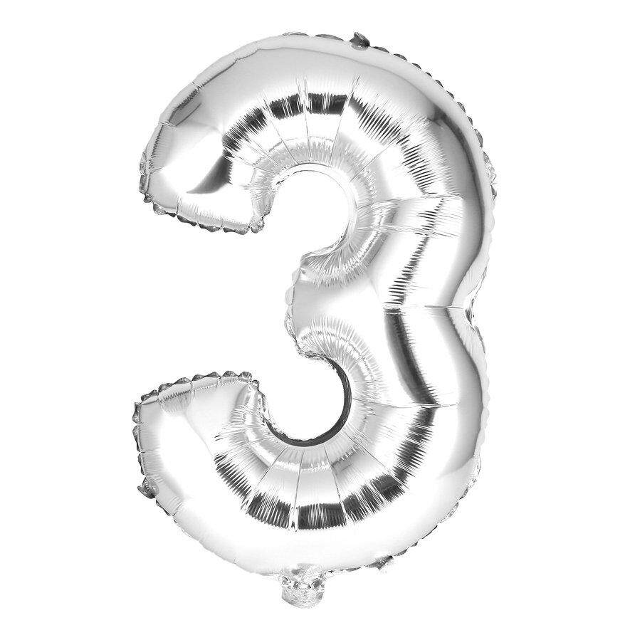 [Flash Sale] 30 Inches Silver Number Foil Balloons Digit Air Ballons Party Wedding Decor