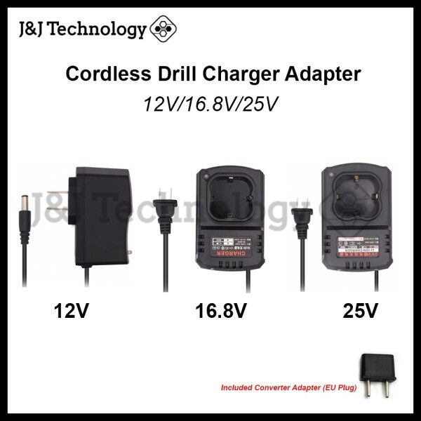 JNJ Technology Cordless Drill Charger Adapter 12V 16.8V 25V Fast Charger Cordless Electric Drill Rechargeable Battery