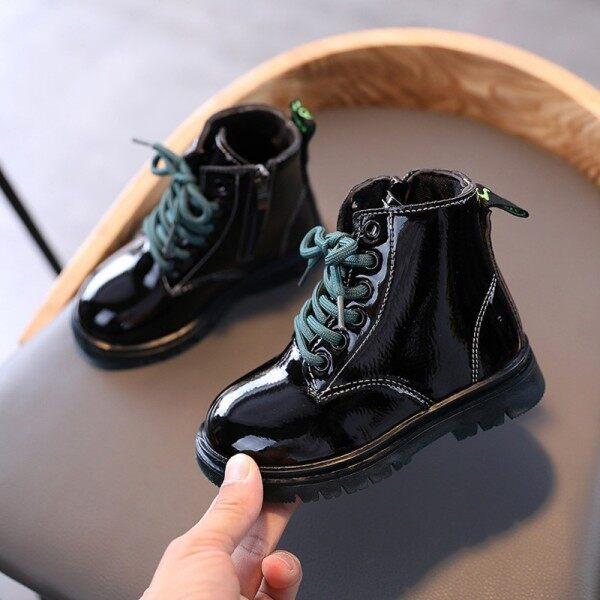 Giá bán [Happlyingbaby] Da Cho Trẻ Em Khởi Động Giày Con Gái Xuân Thu Chất Liệu Da PU Trẻ Em Khởi Động Thời Trang Bé Gái Mới Biết Đi Khởi Động Bốt Mùa Đông Ấm Trẻ Em Giày