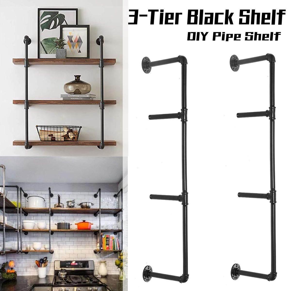 2pcs Rustic 3-Tier Industrial Wall-Mounted Iron Pipe Bracket DIY Bookshelf Wall(tall 92cm,deep 24cm)