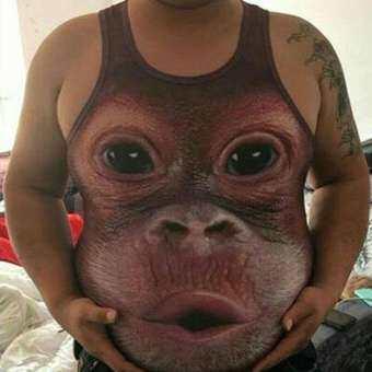 การบริการที่ดีฤดูร้อนผู้ชายตลกลิง 3D พิมพ์แขนกุดถังเสื้อกั๊กเสื้อยืดกล้ามเนื้อเสื้อ