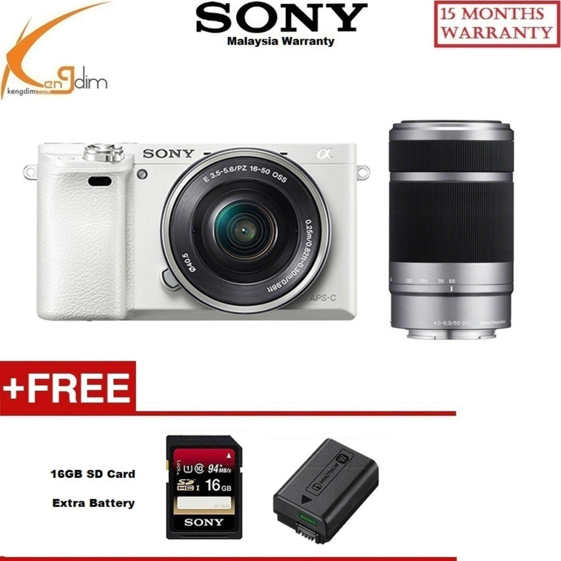 Sony a6000 Kit with 16-50(white)+55-210mm Lens(blk)(SONY MALAYSIA 1 YEAR WARRANTY)