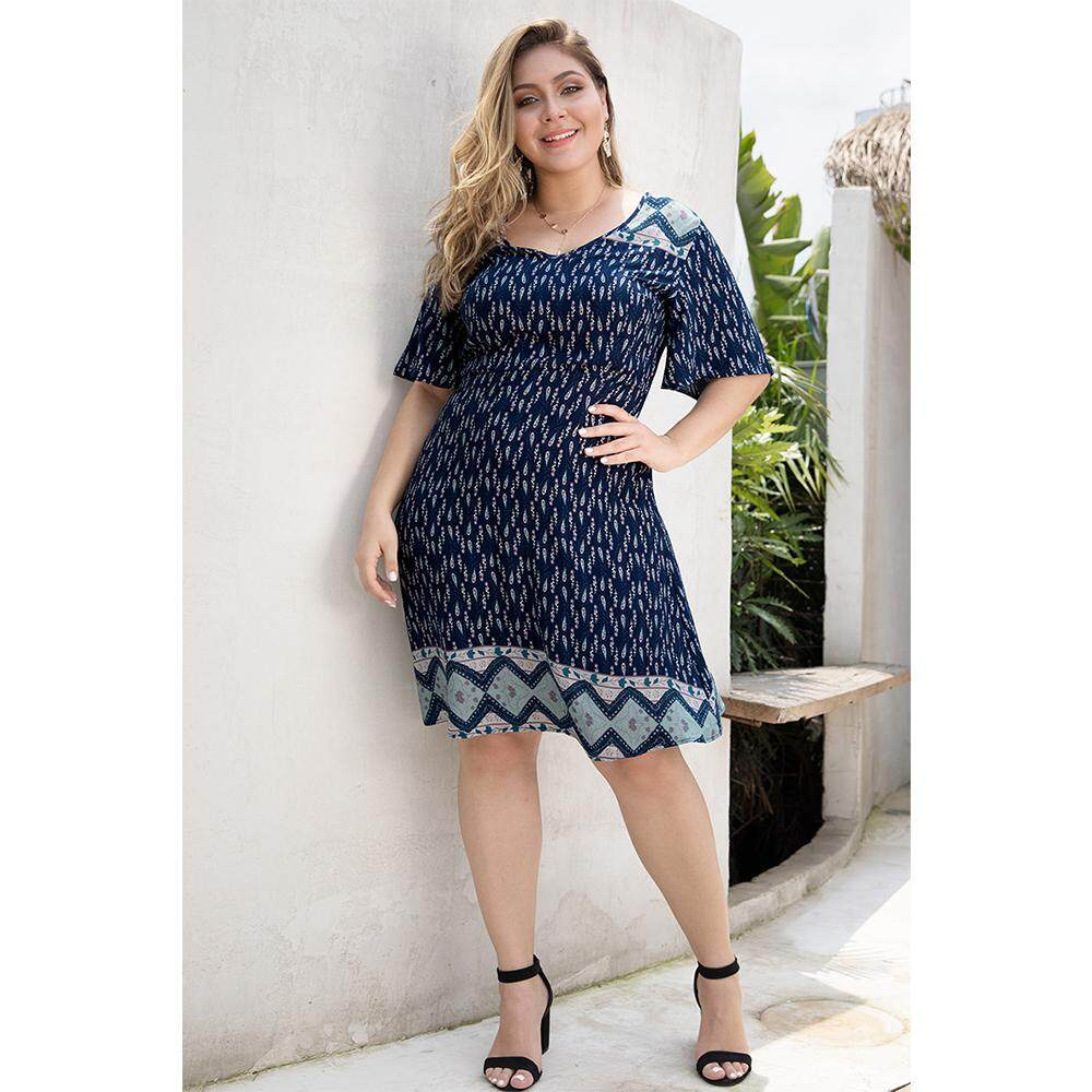 Vintage Large Size Printing Dress Woman Fashion Half Flare Sleeve V-neck  Clothes Plus Big Size Street Wear Midi Gown Vestidos