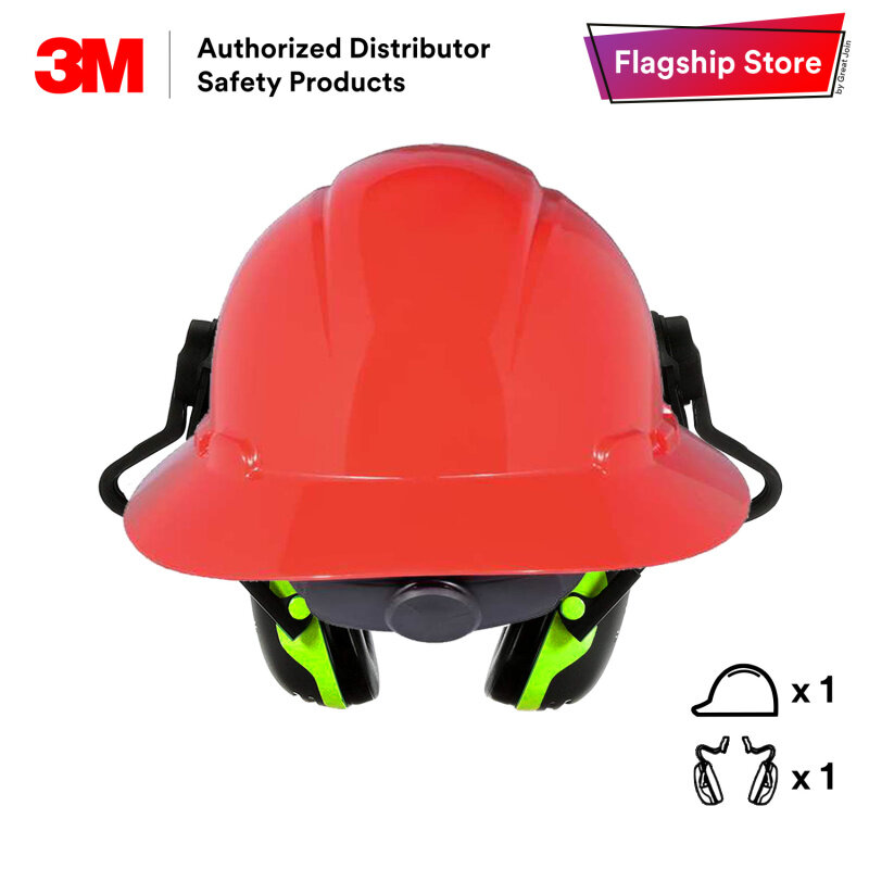 3M H-800R Series Full Brim Safety Helmet with 3M X4P51E Helmet Attached Earmuffs Set [Self-assembly] [1 Helmet + 1 Helmet Attached Earmuffs]