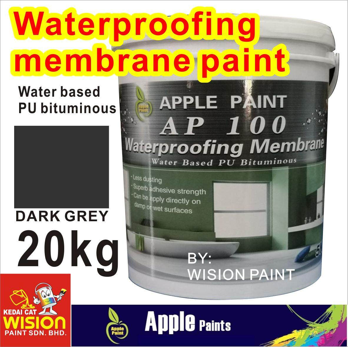 AP 100 WATERPROOFING MEMBRANE ( 20KG ) WATER BASED PU BITUMINOUS LESS DUSTING SUPERB ADHESIVE STRENGTH CAN BE APPLY DIRECTLY ON DAMP OR WET SURFACES APPLE PAINT