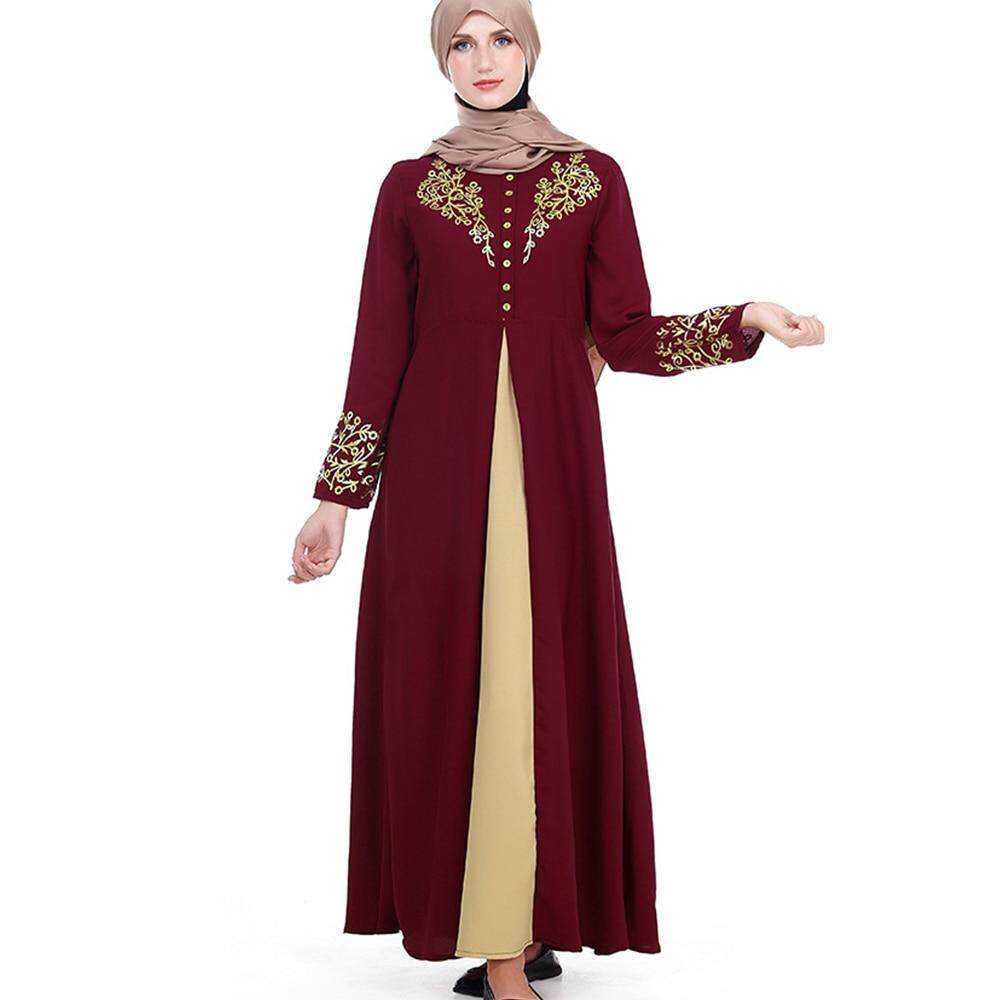 2126d11b4b Gold Stamping Printing Muslim Dress Women Dubai Abaya Black Robe Long  Sleeve Cardigan Kaftan Elegant Design