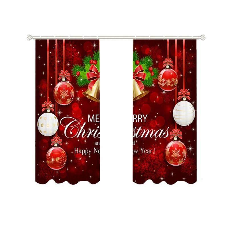 2 Cái Rèm Chủ Đề Giáng Sinh Che Nắng Chống Sợi Polyester