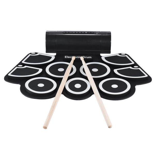 Portable Electronic Roll Up Drum Pad Set 9 Silicon Pads Built-in Speakers with Drumsticks Foot Pedals USB 3.5mm Audio Cable