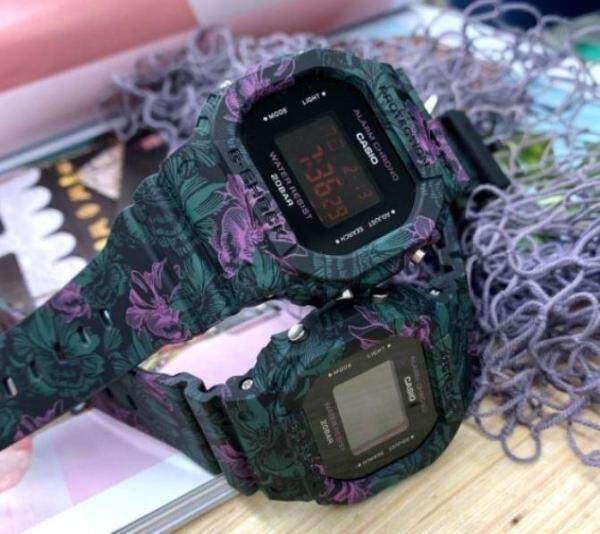 GSTYLE DW5600 PURPLE FLORAL DIGITAL WATCH WATCHES JAM OEM GSHOC-K CASI-O Malaysia