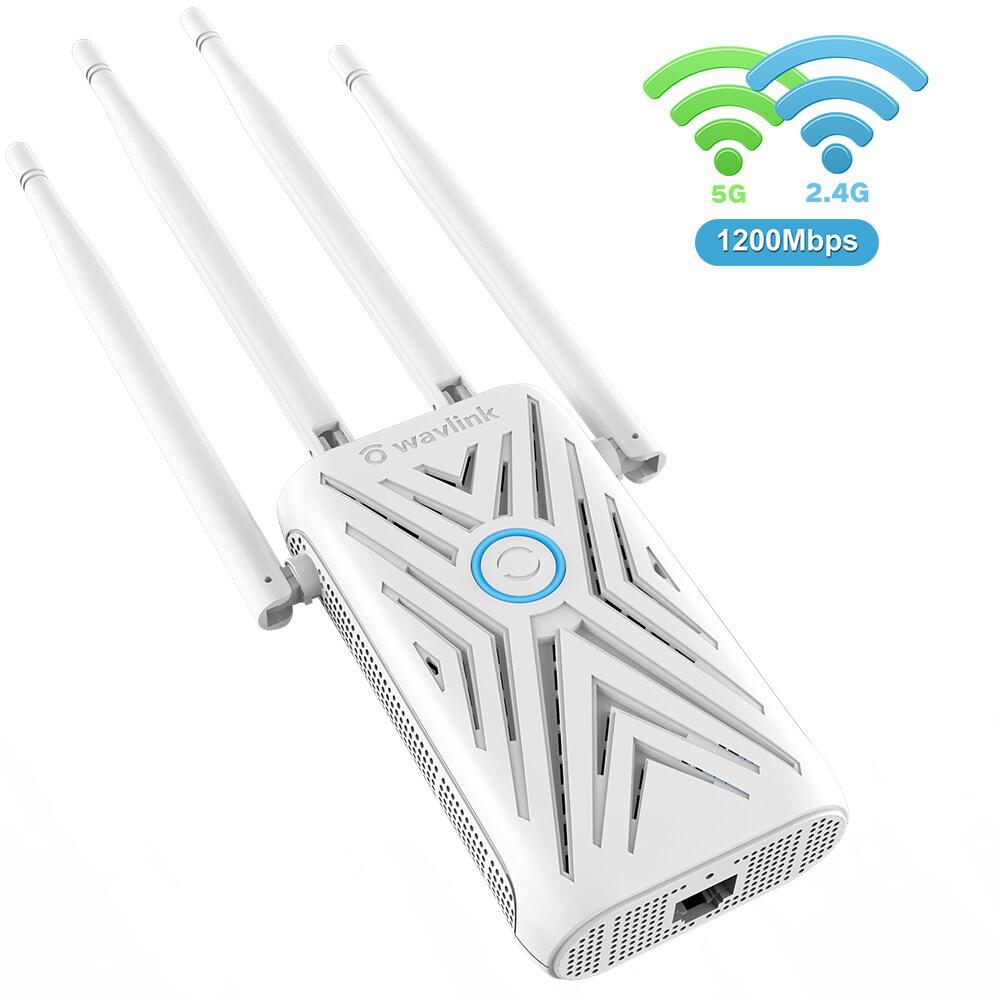 Wavlinkตัวขยายช่วงสัญญาณไร้สายac1200,dual Band (5ghz 867mbpsและ2.4ghz 300mbps) ตัวขยายช่วงไร้สาย/apสอดคล้องกับมาตรฐานieee 802.11 Ac/a/b/g/nที่มีพอร์ตอีเธอร์เน็ต10/100mbpsเสาอากาศ4 X 5dbi.