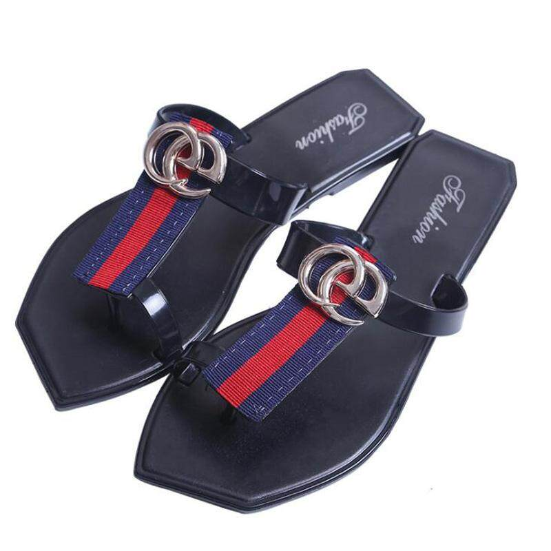 YOHO New Summer Beach Flip Flops Women S Sandals Black Striped Casual Clip  Flat Sandals Slippers e1652c9a99