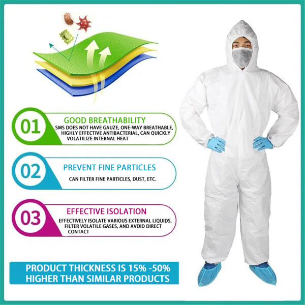 【In Stock】Coverall Isolation Suit Isolation Clothing for Staff Protective Dust-proof Overalls Antistatic Protection Safe Dust-proof Waterproof