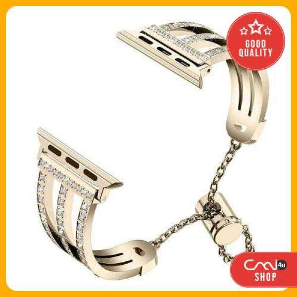 [OFFER] Three-row Diamonds Adjustment Chain Metal Alloy Stainless Steel Strap Watchband Replacement Smart Watch Accessory (Gold) Malaysia