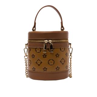New Summer Women Cylinder Bag Mini Handbag - PU Leather Embossing Shoulder Bag Small Round Bag, Double Zipper Bag thumbnail