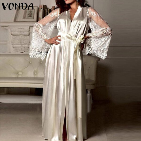 (Phong Cách Phương Tây) Fancystyle VONDA Tay Chuông Cho Nữ ĐẦM Cocktail Dự Tiệc Xòe Ren Baggy Maxi Dress, Dài Hàng Đầu